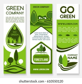 Eco business banner template set. Green tree and forest nature landscape symbol with text layouts for green company flyer, ecology and environment friendly project brochure design