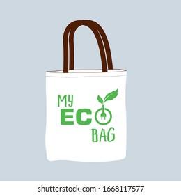 Eco canvas bag. say no to plastic bags, refuse ban slogan and textile shopping handbag illustration