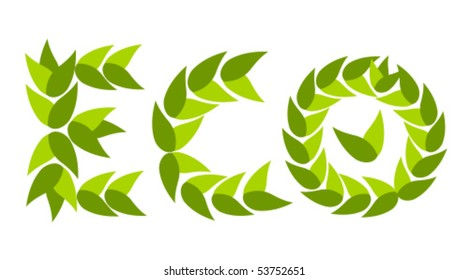 Eco caption project made of green leaves. Business concept banner
