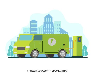 Eco car charging station.Electric van refueling .Green energy.City skyline with skyscrapers.Flat vector illustration. - Shutterstock ID 1809819880