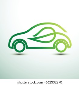 Eco car concept green drive with leaf symbol,vector illustration