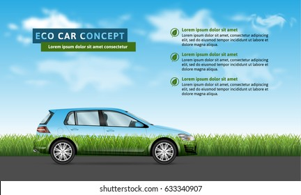 Eco car concept. Hatchback profile view on the grass and sky background.