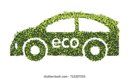 Eco car concept with recycle icon of leaf. stock vector illustration.