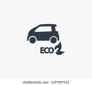 Eco car icon isolated on clean background. Eco car icon concept drawing icon in modern style. Vector illustration for your web mobile logo app UI design.