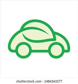 eco car and leaf symbol. Vector logo.