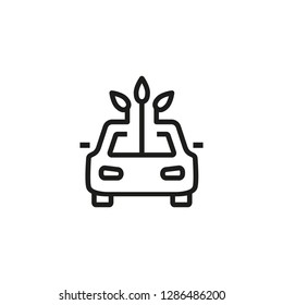 Eco car line icon. Vehicle, auto, ecofriendly. Smart car concept. Vector illustration can be used for topics like modernization, city, town, ecology