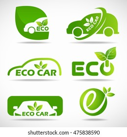 Eco car logo - green leaf and car sign vector set design