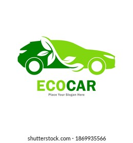 Eco car vector logo template. Suitable for business, web, art, nature and technology