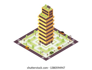Eco city isometric color vector illustration. Sustainable building with solar grid, tree infographic. Green, sustainable, eco friendly house 3d concept. Renewable energy usage. Isolated design element
