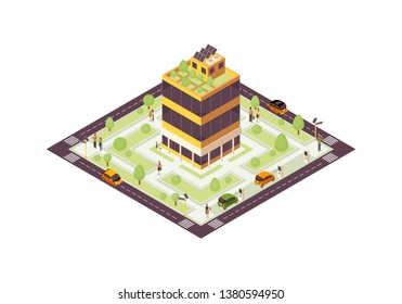 Eco city isometric color vector illustration. Smart building with solar grid, trees infographic. Green, sustainable, eco friendly house 3d concept. Renewable energy usage. Isolated design element