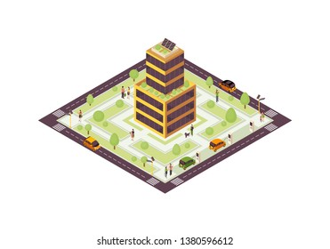 Eco city isometric color vector illustration. Smart building with solar grid, plants infographic. Green, sustainable, eco friendly house 3d concept. Renewable energy usage. Isolated design element