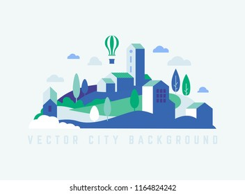 Eco City landscape with buildings, hills and trees. Landscape with air balloon. Vector journey illustration in minimal geometric flat style. Abstract travel city lable, logo.