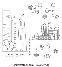 Eco City in Linear Style - skyscrapers, solar panels, wind turbines, green house, energy generator and factory. Ecology and environment concept illustration. Green energy urban design elements.
