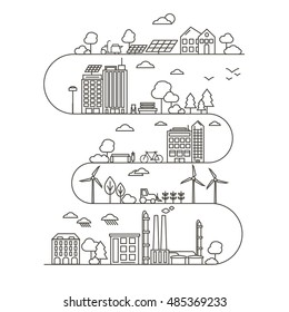 Eco City in Linear Style - solar panels, wind turbines, green home, energy generator and factory. Ecology and environment concept illustration. Green energy urban design elements.