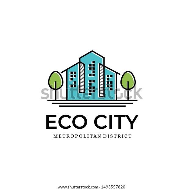 Eco City Logo Design Template Inspiration Stock Vector Royalty Free 1493557820