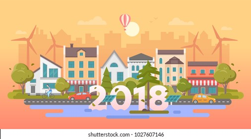 Eco city - modern flat design style vector illustration on orange background. A composition with nice buildings, cafe, cars on the road, trees, solar panels, windmills, a boy, pond, 2018 year sign