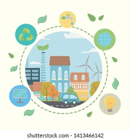 Eco city and save planet design
