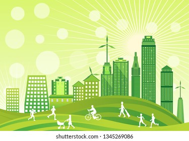 Eco city scene, green world, green technologies theme vector
