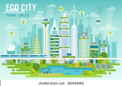 Eco city skyline vector illustration.