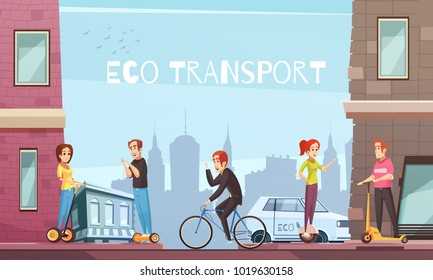 Eco city transport with personal transit devices as scooter two-wheeled electric hoverboard bicycle cartoon vector illustration