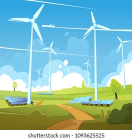 Eco clean energy illustration. Windmills on green fields with solar panels. World's environment day vector illustration.
