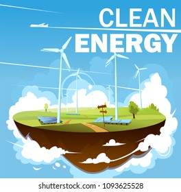 Eco clean energy illustration. Windmills on green fields with solar panels on flying island. World's environment day vector illustration.