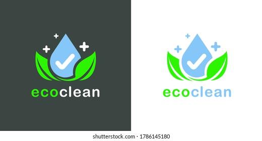 Eco clean logo icon. Green bio wash symbol. Environmentally friendly product emblem. Leaf and waterdrop symbol. Vector illustration.