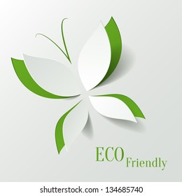 Eco concept - green butterfly cut the paper like leaves - abstract background