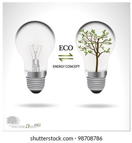 Eco concept: A light bulb with tree inside. Vector illustration.