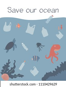 Eco concept poster with polluted ocean and marine habitants