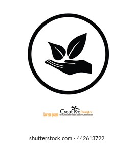 eco concept.friendly environment sign.hand and leaf.vector illustration.