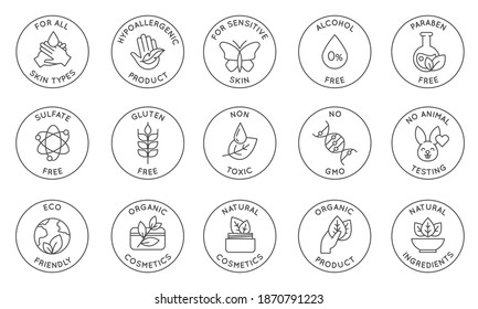 Eco cosmetics icon. Organic natural products alcohol, paraben and gluten free line icons for packaging. Round stamps and badges vector set. Non toxic, no animal testing, for all skin types