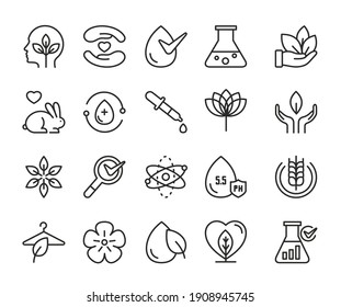 Eco cosmetics thin black line icon vector illustration set. Linear symbols for cosmetology about toxic free vegan green products, without cruelty to animals editable stroke logo outline collection