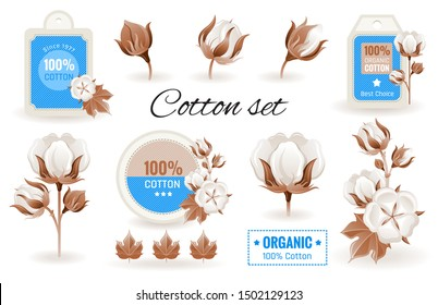 Eco Cotton label design & flower set. 100 bio organic cotton tag icon. Bud, leaf element. 3d realistic sticker. Textile production & fashion logo. Cartoon vector illustration isolated white background