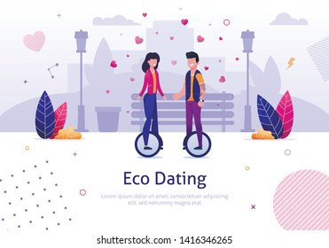 Eco Dating. Man Woman Ride Monocycle in Park Vector Illustration. Ecological Transport Electric Unicycle. Green Vehicle. Romantic Love Relationship. Active Dating Outdoors. Hipster Date