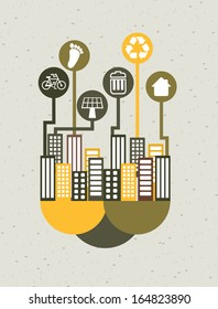 eco design over gray background vector illustration