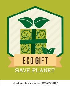 eco design over green background vector illustration