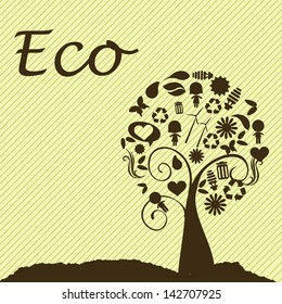 eco design over yellow background vector illustration