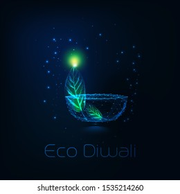 Eco Diwali concept with futuristic glowing low polygonal diya lamp and green leaf on dark blue background. Modern wire frame mesh design vector illustration.