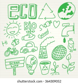Eco doodle set in cartoon style