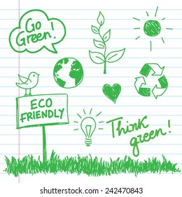 Eco doodles set drawn with a marker on a notebook sheet - Vector illustration.
