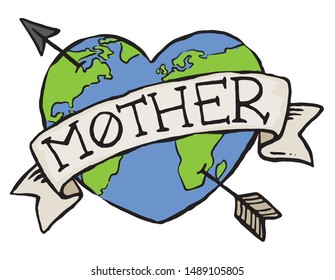 An eco earth badge for Mother Earth. Hand drawn vector illustration.