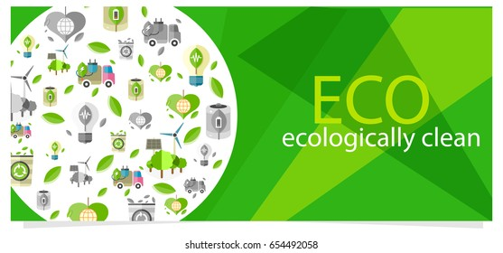 Eco ecologically clean poster with ecological equipment icons for human usage. Vector colorful poster with transport and things safe for nature