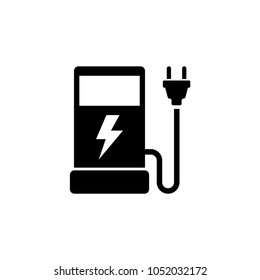 Eco Electric Fuel Pump. Flat Vector Icon. Simple black symbol on white background