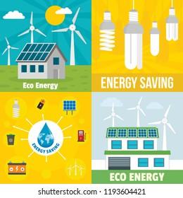 Eco energy banner set. Flat illustration of eco energy vector banner set for web design
