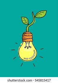 eco energy bulb doodle art