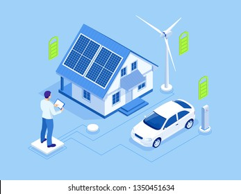 Eco energy and Ecology concept. Green energy an eco friendly modern house. Renewable energy solar and wind power generation.