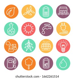 Eco energy and electricity icon set in thin line style. Natural renewable energy technologies such as solar, wind, water heat.