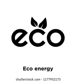 Eco energy icon vector isolated on white background, logo concept of Eco energy sign on transparent background, filled black symbol