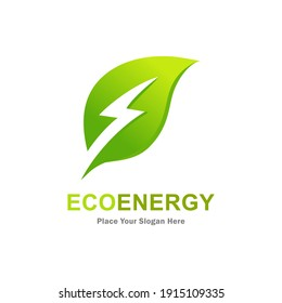 Eco energy with leaf vector logo template. Suitable for business, web, nature, environment, recycle and electric symbol